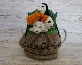 Knitted Tea Cosy  Cosie Cozy  Two in a Tent with a Dog, Cosy Campers Shabby Chic