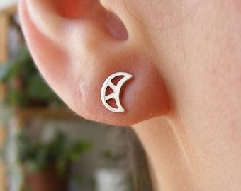 Mini Moon Handmade Silver Earrings