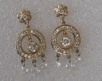 "CZ  Vintage  Gold over Sterling  Bling Post w Dangle  Earrings 1 1/4"" Long"