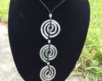 Silver Circle Swirl Necklace
