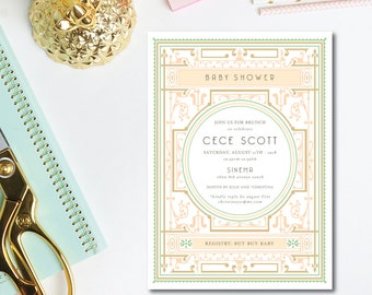Art Deco Bebe Shower Invitations