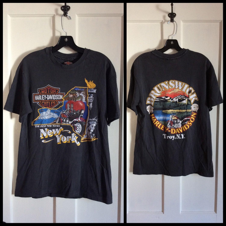 1988 new york city nyc harley davidson motorcycle t shirt. Black Bedroom Furniture Sets. Home Design Ideas