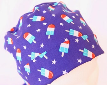 Scrub Hat, Surgical Scrub Hat, Red, White, Blue, July 4th, July forth, Independence Day, Holiday Scrub Hat, Patriotic Scrub Cap, Popsicle