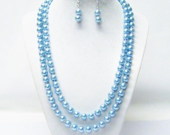 2 Strand 8mm Light Blue Glass Pearl Necklace with Earrings Set