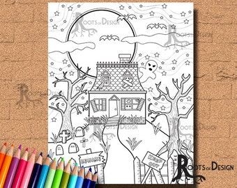 INSTANT DOWNLOAD Haunted House Coloring Page Print, doodle art, printable