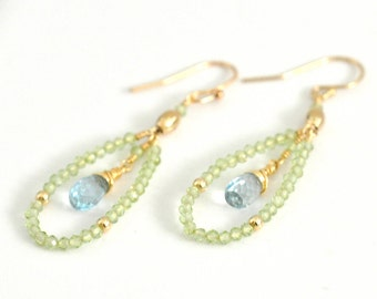 Sky Blue Topaz & Peridot  Earrings, Light green stone Earrings, blue stone Earrings, Gold hoop Earrings