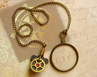 True Antique Steampunk Custom Glass Costume Monocle w/Chain Lanyard Attached to Clockwork Style Lapel Pin. Perfect For NeoVictorian Cosplay!