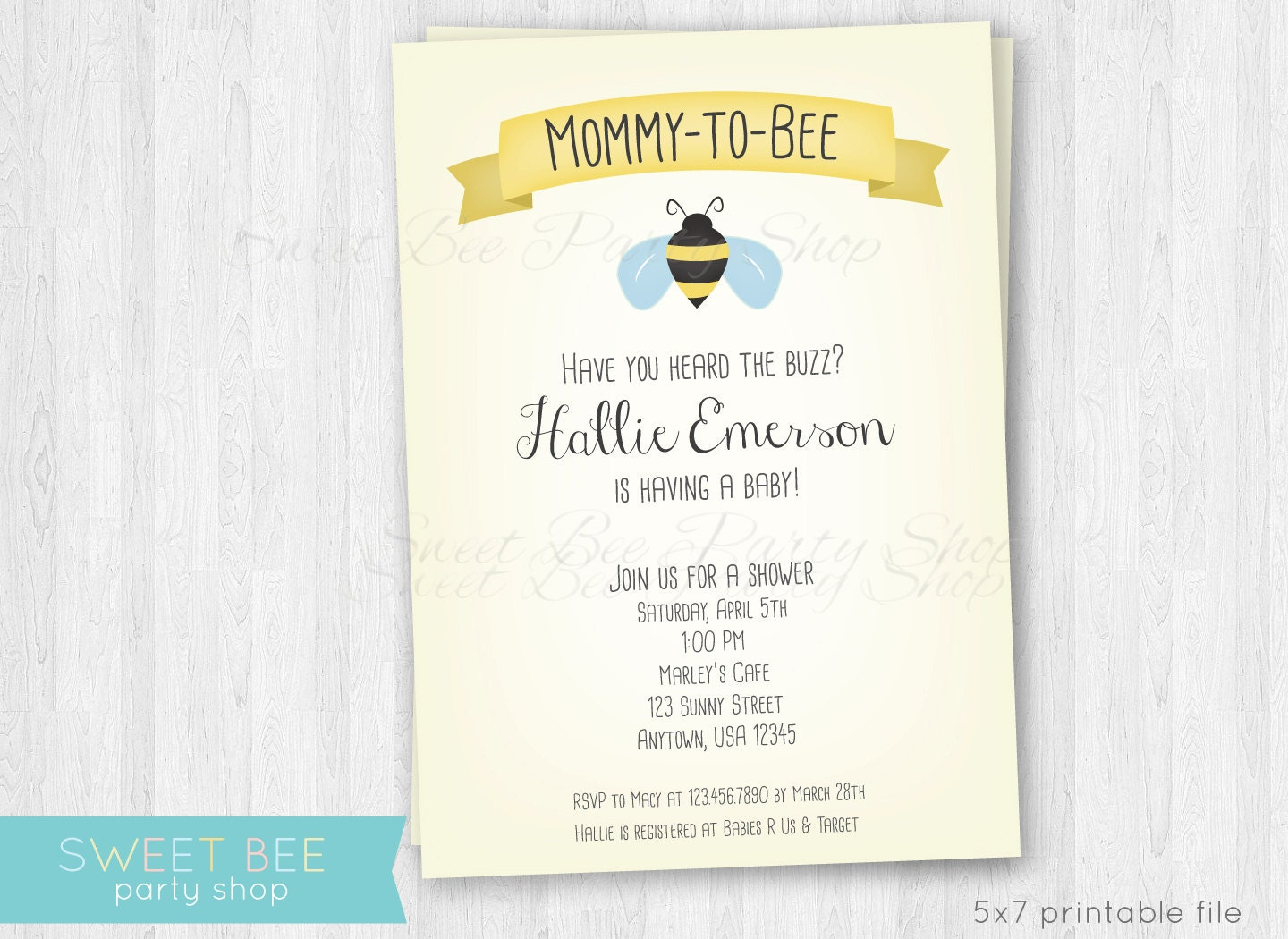 Mommy to Bee Baby Shower Invitation Printable File Bumble