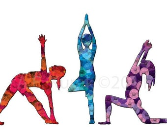 Yoga Art Print - Three Women in Yoga Poses -  8 x 11 Print