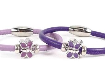 Girls Bracelet, Purple Leather Bracelet, Little Girls Jewelry, Childrens Jewelry, Girls Purple Bracelet, Childrens Bracelet, Baby