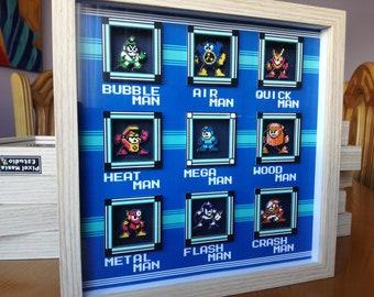 Mega Man 2 001 Pixel Art Diorama Shadow Box