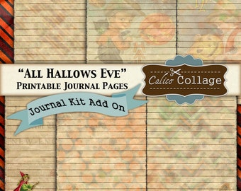 All Hallows Eve, Printable Journal, Kit Add On, Journal Paper, Printable Paper, Vintage Halloween, Journal Cards, Journal Supplies