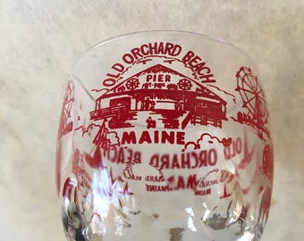 Vintage Old Orchard Beach Maine goblet glass