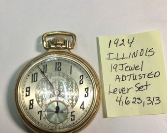 1924 Illinois 19J Adjusted 18S 51mm Pocket Watch in 10k Gold Filled Train Case Lever Set Running
