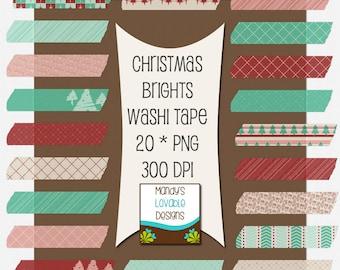 Christmas Brights Washi Tape - Digital Scrapbooking - Clip Art - Cards Invitations - 20 Pieces - 300 DPI - CU OK