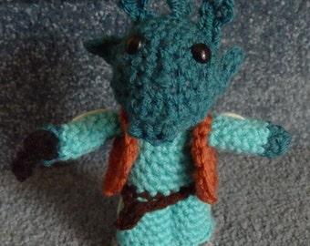 Made to order, Hand crocheted Star Wars like Doll Greedo Amigurumi Doll Alien