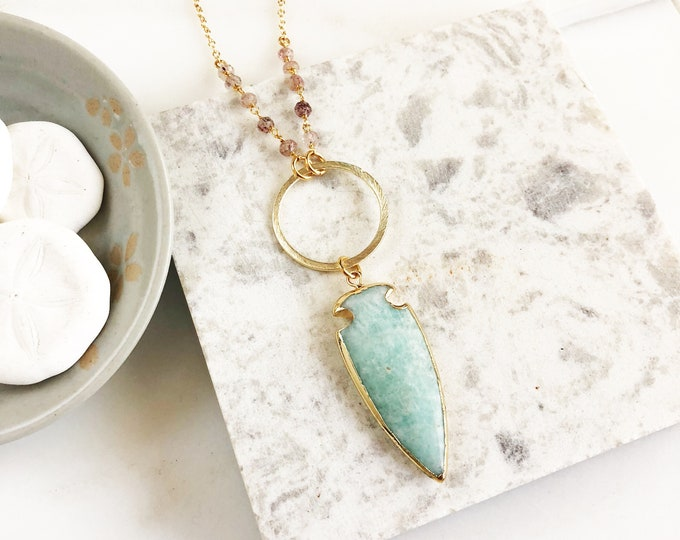 Long Bohemian Necklace with Amazonite Arrow pendant and Strawberry Quartz beaded chain. Long Boho Necklace. Jewelry Gift for Her. Boho chic.