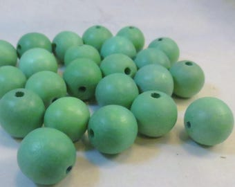 Dark Lime Green Dyed Wood Beads, 15mm Round, Wholesale Bead Supplies