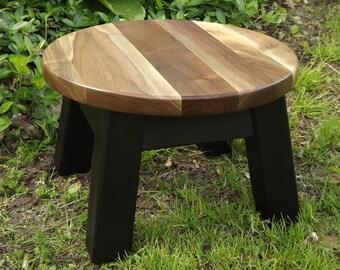 "modern/ reclaimed wood/ round top riser/ step stool/ walnut sapwood top 14"" D x 9"" H"