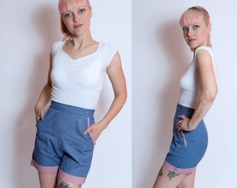 Vintage Gingham 60's Adorable High-Waisted Jean Shorts