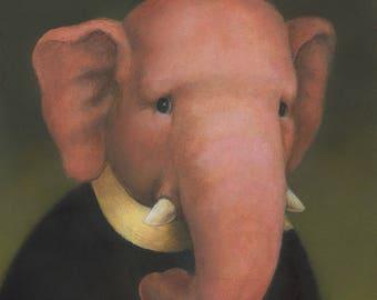 Elephant Print, Pink Elephant, Elephant Art, Elephant Lover Gift