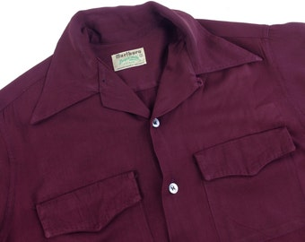 1940's Gabardine Shirt / Maroon Rayon / Flap Patch pockets / Loop Collar /  Men's SMALL