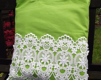 Vintage Lace covered Tote Bag - useful reusable shopping bag - Citrus - lime green and white
