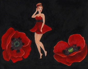"Red Poppy Pin-up Flower Girl, Original Acrylic Nature Art Painting, One of a Kind, 10""x8"""
