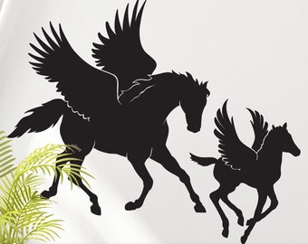 Nursery Wall Decal - Pegasus Nursery Decal - Animal Vinyl Wall Decal - Mother and Baby Animal Decal - Horse Vinyl Wall Art - Horse Decal