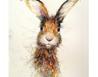 Hare print from original watercolour by Nancy Antoni A3 wall art large print