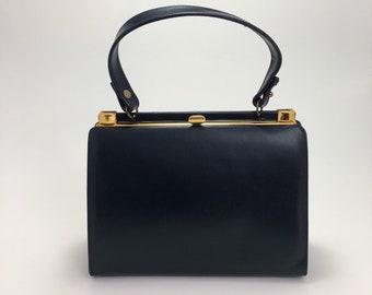 1960s Triangle New York Navy Blue Box Bag