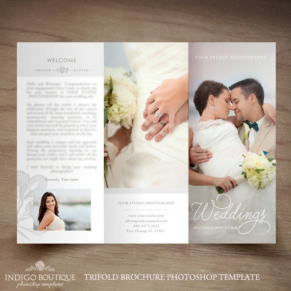 Wedding photography trifold brochure template client welcome for Photography brochure templates free