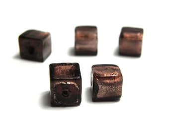 5x Silver Foil Glass Cube Beads 8mm - Amethyst