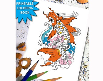 KOI FISHES Adult Coloring Book, Printable Adult Coloring Book Page,Digital Illustration, LineArt Instant Download Printable