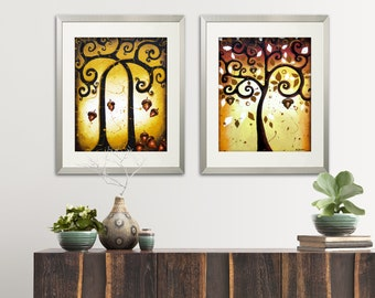 Autumn Tree of Life 2 Piece Wall Art Acrylic Painting Print Set on Paper, Woodland Decor