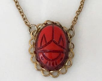 Scarab necklace gold plated carved gemstone 1950's - 1960's mid century jewelry