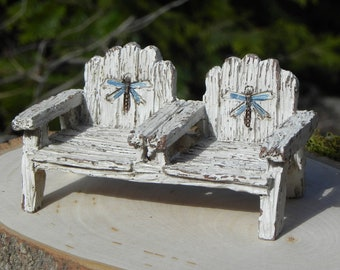 Fairy Garden Chairs, dragonfly accents, double chair, adirondack style double chairs his hers fairy garden accessory, rustic wood look chair