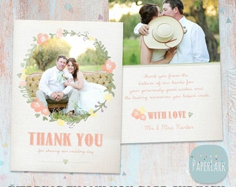 Wedding Thank You Card - Photoshop template - AW008 - INSTANT DOWNLOAD