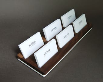 Wood card holder etsy wood two row business card holder for front desk wood business card stand reheart Gallery