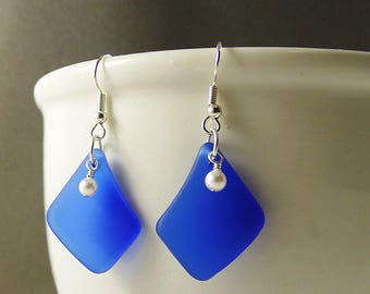 Cobalt blue earrings with white pearls blue sea glass earrings blue seaglass jewelry seaglass earrings sea glass jewelry handmade earrings