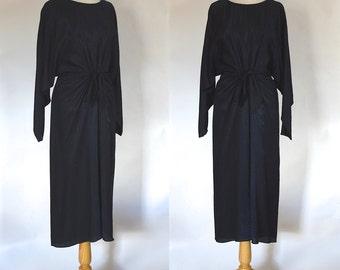 Vintage 90s Dress / Slinky Black Dress / Black Party Dress / Little Black Dress / Size Small