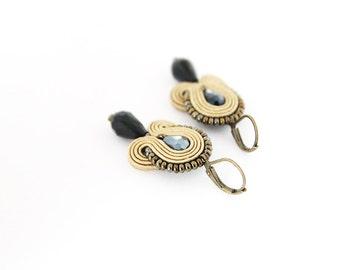 Small elegant earrings, light brown earrings, soutache brown earrings, brown drop earrings, soutache jewelry, small brown earrings