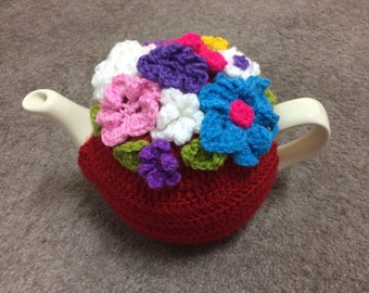 Crochet Tea cosy for a medium or large teapot (4 to 6) cups cozy teapot cover, red with flowers