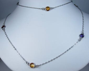 """La Scala Sterling Silver Necklace with Gemstones 24"""" length 0577"""