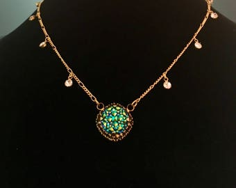 Metallic Teal Blue Druzy Necklace with Swarovski Crystals - Gold Necklace with Teal Blue Druzy -Crystal Statement Necklace (Item#1093)