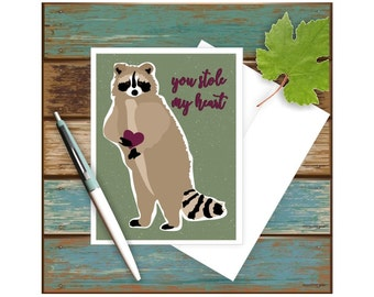 Raccoon Card, You Stole My Heart, Raccoon Art, Love Card, Funny Anniversary Card, Funny Valentine Card, Funny Pun Card, Woodland Animals