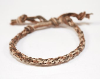 Eco Friendly Hemp Mens Bracelet Kumihimo Earth Rustic Brown Thick or Thin Mans Jewelry