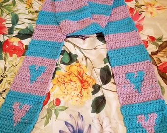 Blue & Pink Heart Scarf