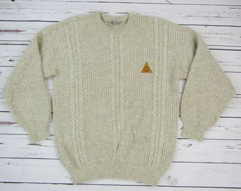 Vintage Swanndri Mens Off White Wool Cable Knit Sweater Medium 96cm Crew Neck New Zealand Patch