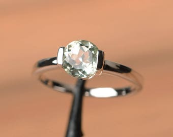 natural green amethyst ring promise ring green gemstone sterling silver ring solitaire ring